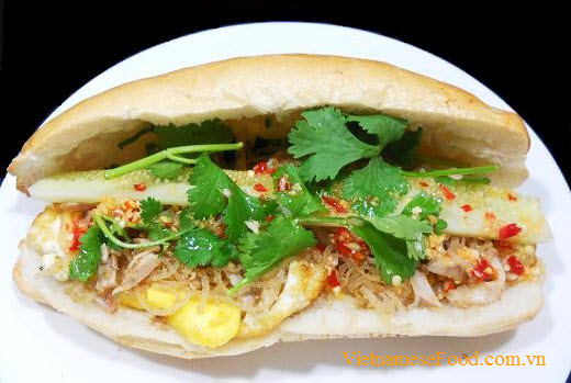 Fried Egg with Shredded Pork Skin and Bread Recipe (Bánh Mì Ốp La Bì)