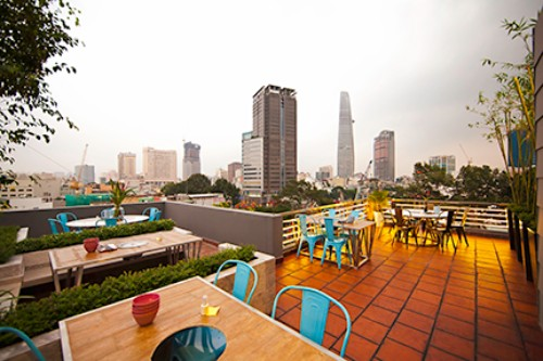 View HCM city from the garden on the top of the building
