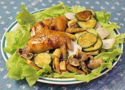 Grilled Chicken Wings with Vegetables Recipe (Cánh Gà Và Rau Củ Nướng)